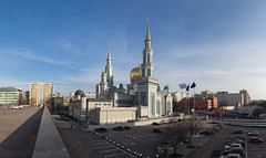 Panaromic view of the Moscow Cathedral Mosque (Oleg.A) Tags: spring landscape russia nature city cityscape evening viewpoint clouds mosque oldtown twilight islam architecture sunset megalopolis street outdoor moscow islamic landscapes outdoors town мечеть москва moskva ru