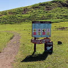 Rules, rules, rules... (LeftCoastKenny) Tags: chile easterisland isladepascua day19 ranoraraku volcano path sign text drawings rapanuinationalpark