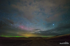 Green Horizons (kevin-palmer) Tags: march spring nikond750 night sky stars starry decker montana auroraborealis aurora northernlights geomagneticstorm color colorful green red clouds cloudy irix15mmf24 vega grassland hills dirt road astrometrydotnet:id=nova2014788 astrometrydotnet:status=failed