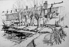 Dorking mill pond (Martin Blunt) Tags: dorking mill pond surrey penandink sketch willows trees houses pleinair