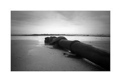 Pipe Series V [Olympus 35RC] (Mr B's Photography) Tags: film olympus35rc fujifilm blackandwhite pipe beach marazion penzance conrwall sand sea sky