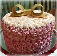Pink ombre rosette cake (pike.corinne) Tags: dog birthday strawberry cake gumpaste picmonkey