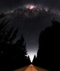 Milky Way between the Pines - Jarrahdale, Western Australia (inefekt69) Tags: westernaustralia jarrahdale pine trees plantation silhouette australia great rift panorama stitched landscape wide astrophotography astronomy stars galaxy milkyway galactic core space road night nightphotography nikon 50mm hoya red intensifier d5100 dslr long exposure perth southern southernhemisphere cosmos cosmology outdoor sky landscapeastrophotography msice didymium