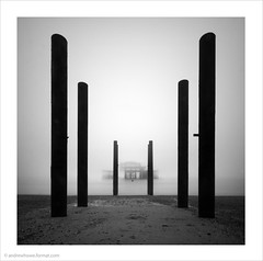West Pier II / Brighton, UK (Andrew James Howe) Tags: andrewhowe architecture blackandwhite brightonwestpier brighton dusk england fineart iron light landscape longexposure mono nikon pier reflections