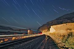Lombard night (Moffat Road) Tags: montanaraillink mrl bnsf night bridge abutments lombard montana streak startrails starstreaks mrlsecondsubdivision mrl2ndsub milwaukeeroadpacificextension abandonedmilwaukeeroad train railroad motion mt