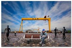 Belfast H&W shipyard (teedee.) Tags: belfast hw shipyard composite image photoshop mix cheat street cobbles bronze statue teedee