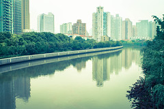 wusong river (chicago_tarot) Tags: splittone water city skyline reflection asia urban green