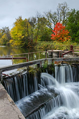 WaterFall Color (Tom Gill.) Tags: autumn fall water canal waterfall illinois lock gates geneseo hennepincanal