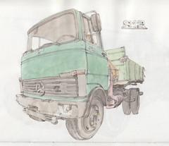 813 (Flaf) Tags: colour water pencil vintage mercedes drawing lorry mercedesbenz florian siegen bosch freie lkw dienst flaf nutzfahrzeug afflerbach zeichnerei sieghtte