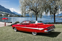 1961 Chevrolet Impala (Dejan Marinkovic Photography) Tags: red classic cars chevrolet water car landscape switzerland convertible chevy chrome american impala 1961 worldcars