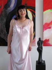 Smile (Paula Satijn) Tags: pink sexy girl shiny soft silk tgirl transvestite slip satin gurl silky nightgown nightdress nightie