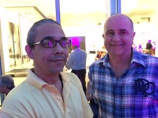 Artist Glexis Novoa with artist/curator Cesar Trasobares at the de la Cruz collection lecture by Jeffrey Deitch