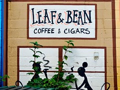 Leaf and Bean (e r j k . a m e r j k a) Tags: café sign pittsburgh pennsylvania smoke handpainted stripdistrict allegheny erjkprunczyk