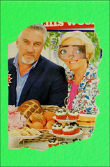 Mail Art Postcard No. 4480. (Dave Whatt) Tags: food green art collage tv eyes surrealism postcard mailart