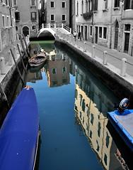 White and colours in Venice (collage42 Pia M.-Vittoria S.) Tags: italy reflections boats italia barche venezia riflessi veneto hauses canali selectivecolours desaturadoselectivo nikond90 desaturazioneparziale ruby10 ruby15 ruby20 rubyfrontpage