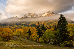 Mt Sopris, Carbondale, Colorado (RondaKimbrow) Tags: autumn mountain fall weather fog landscape colorado snowcapped aspens mtsopris carbondal rondakimbrowphotography500pxcom