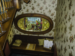 Stairway alcove and stained glass (AR_the old guy) Tags: wood glass vintage raw dolls interior stairway stained sleepy gananoque bb toned hollow alcove chessset