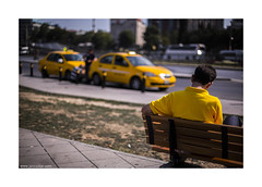 cab and cabbie (jrockar) Tags: street city travel people urban 3 man guy yellow canon turkey lens photography 50mm prime shot mark f14 cab taxi iii 14 streetphotography documentary istanbul snap human madness instant 5d cabbie moment standard 50 ef mk ordinary decisive 2014 5014 ordinarymadness