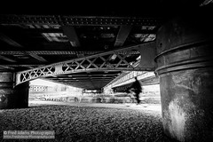 Lines of Travel (Fred-Adams) Tags: travel bridge urban london canal iron cyclist streetphotography girders commuters eastend eastlondon riverlea fredadams fredadamsphotography