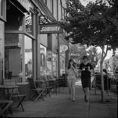 Ice Cream To Go (WOUsparky) Tags: street camera tree brick 6x6 tlr ice window students glass leaves oregon buildings subway lens concrete store chair or main cream twin sidewalk monmouth montgomery wards 80mm f35 wardflex