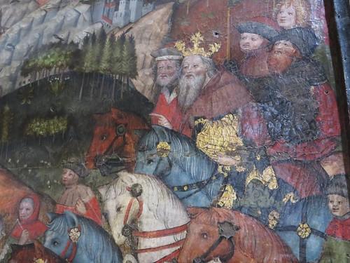 """""""Adoration des Mages"""" (c.1437), Maître de Guillaume de Rarogne, basilique Notre-Dame de Valère (XIIe-XIIIe siècles), colline de Valère, Sion, canton du Valais, Suisse."""