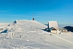 The Chasseral summit and hotel in winter time. Le sommet du Chasseral en hiver(Jura Suisse, alt. 1607m),Canton of Bern. Switzerland. No. 446. (Izakigur) Tags: chasseral winter switzerland jura izakigur flickr parc topf25 topf200 100faves 200faves