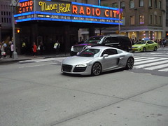 Audi R8 (JLaw45) Tags: road new york city urban sports car sport silver germany europe european metro manhattan united fast super midtown exotic german metropolis states wealthy expensive avenue audi sixth import luxury rare mid v8 sporty v10 6th wealth r8 affluent engined midengine deutscheland