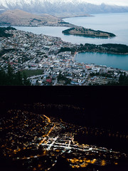 Day & Night. Queenstown, Otago, New Zealand (dave.see) Tags: new city travel winter light sunset sky mountain lake snow ski mountains travelling night canon lights town dusk sigma peak fresh zealand nz snowboard otago queenstown mk2 5d 35 remarkables wakatipu mkii 5d2