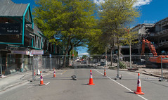 Sorry Closed (Jocey K) Tags: street trees newzealand christchurch sky architecture clouds fence buildings crane oct demolition cbd diggers deconstruction roadcones demolitionofthecentrallibrary