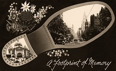 a Footprint of Memory ... Melbourne, Collins Street (CardCollector & HobbyPhotographer) Tags: postcard australia melbourne footprint collinsstreet 1907 passepartout vintagephoto realphoto topographie