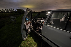 Litte bit interior (Rolfvandewal) Tags: old plants white cold green cars nature netherlands grass car night clouds last contrast landscape outside photography moving farm interior sony parking wide wideangle 1993 parked breda brabant lancia thema carpicture rijsbergen tokina1116 sonyalpha35