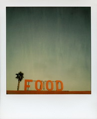 FOOD (tobysx70) Tags: california ca door autumn red toby food 3 color tree fall film beach sign project polaroid sx70 for restaurant october day malibu palm zuma tip cameras 600 type week rollers hancock slr680 impossible roid the 2014 roidweek frankenroid tobyhancock impossaroid