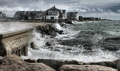 Stormy day at Falmouth (MROEDEL) Tags: ocean houses storm beach water wall clouds ruins rocks waves capecod massachusetts atlantic falmouth roedel