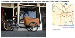 Craigslist ad: Selling cargo bike because of divorce (citymaus) Tags: bicycle la losangeles bikes craigslist divorce curve cargobike flyingpigeon babboe
