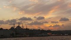 Istanbul (Kiran Zia) Tags: blue light sunset sea cloud sun holiday water clouds turkey river istanbul mosque sultan turkish masjid ahmet