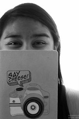 Say Cheese! (AdrienneCredoPhotography) Tags: portrait bw white black cheese self nikon journal say d3200