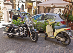Once I'm grown up, I'll become a Harley too! (schreibtnix off for a while) Tags: italien shadow italy black travelling yellow reisen europa europe vespa pavement gelb lane motorcycle sicily schatten schwarz pflaster gasse motorrad sizilien cefal olympuse5 schreibtnix