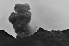 Strombolian Eruption (Derbyshire Harrier) Tags: pyroclastic 2016 stromboli aeolianislands tyrrheniansea mediterranean ash eruption volcano geology ashcloud strombolianactivity sicily evening summit crater fumaroles bw monochrome tephra volcanology