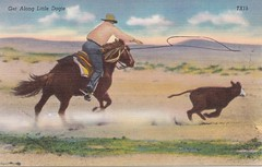 Get along little dogie Texas Postcard (sdwalden6) Tags: postcard postcards cowboy roping roper calfroping vintage old antique antiquepostcard oldpostcard curtteich curtteichpostcard texas texaspostcard getalonglittledogie