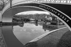 Horseley ironworks Bridge (mattgilmartin) Tags: ironworks iron bridge canal boats black white narrowboat marina