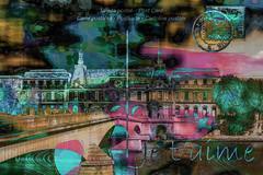 Bajo los puentes del Sena (seguicollar) Tags: postal sena puente amor parís paisajeurbano ciudad correos sello imagencreativa photomanipulación art arte artecreativo artedigital virginiaseguí