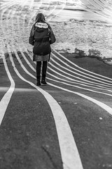 Walk the Lines (MacCabri) Tags: blackandwhite bw monochrome street streetshot girl lines outside copenhagen winter cold urban streetphotography canon 5d 50mm