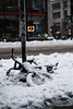 Spring is on Hold (Dan Haug) Tags: bicycle snow 34thstreet manhattan newyork nyc latewinter march 2017 snowbank forgotten yuck fujifilm xt2 xf35mmf14r classicchrome sooc abandoned remains