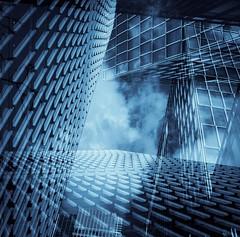 Wednesday, 12.30 (Darryl Scot-Walker) Tags: sky blue skyscraper windows perspective multipleexposure london docklands england uk lunchhourphotography city urban canarywharf