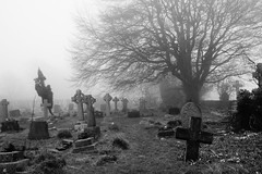 The Old Wooden Cross (JamieHaugh) Tags: lansdown cemetery beckford bath outdoors somerset england sony a6000 blackandwhite blackwhite monochrome bw graves cross wooden trees fog mist