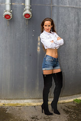 White jacket blue short jeans (ZoRRaW photography) Tags: portrait outdoor brown hair long longbrownhair short jeans jacket white blue black boots kneeboots overkneeboots