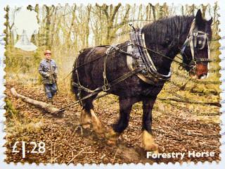 great stamp Great Britain £ 1.28 Forestry Horse (Holzrückpferd) timbre UK United Kingdom stamps England selo sello stamps Great Britain England UK แสตมป์ บริเตนใหญ่ pulları İngiltere frimärken Storbritannien टिकटों ग्रेट ब्रिटेन इंग्लैंड timbre
