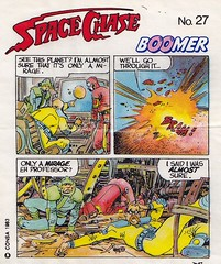 BOOMER / Space Chase 27 (micky the pixel) Tags: ephemera einwickelpapier wrappingpaper papierdemballage vignettes chewinggum kaugummi bubblegum kaugummibilder comic sf scifi sciencefiction consa boomer spacechase professorsage homer virgil planet