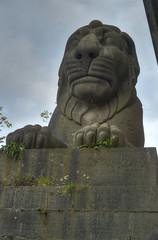 Britannia Bridge lion statue (schwerdf) Tags: anglesey bridges britanniabridge britishisles britishislestrip greatbritain hdr regions statues tonemapped wales