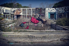 Flying (jbmino) Tags: girl dress levitation decay urbex exploration colour red fly destroy street art aertist tag graffiti pool swimming abandoned
